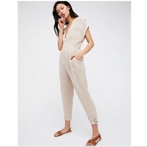 Free people tan striped jumpsuit size S/P